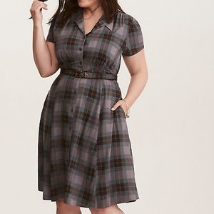 Outlander 1 gray blue plaid button down dress